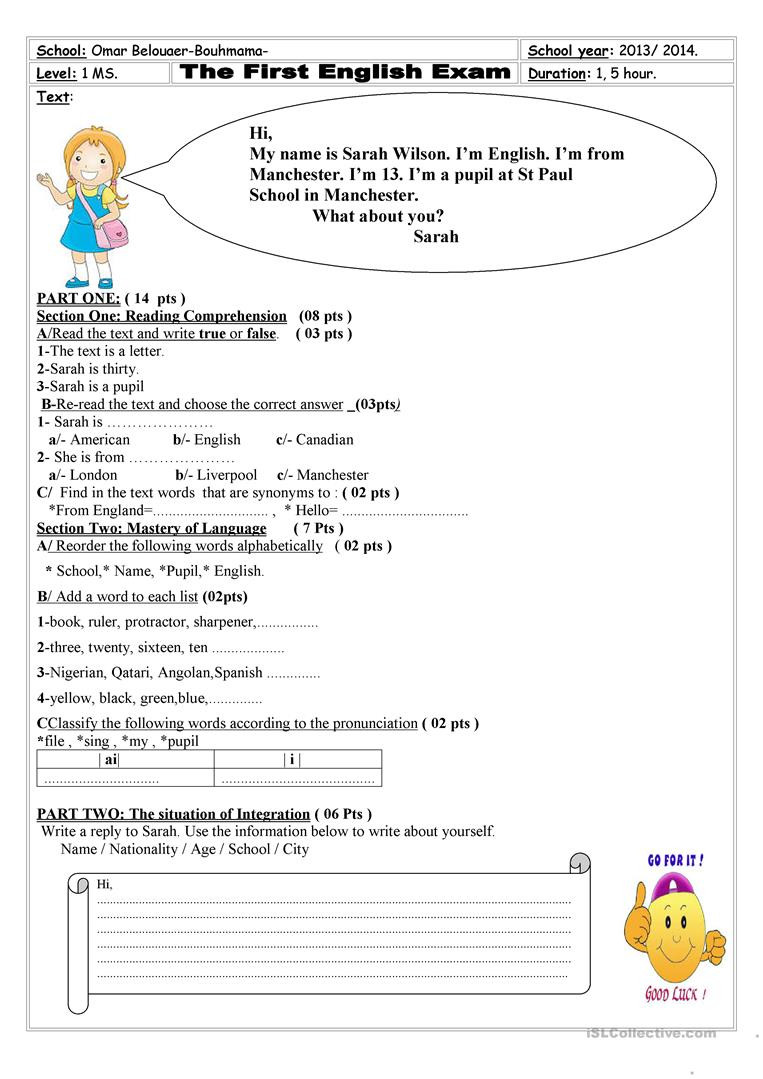 Advisory Worksheets for Middle School First Txam for First Year Middle School Pupils English Esl