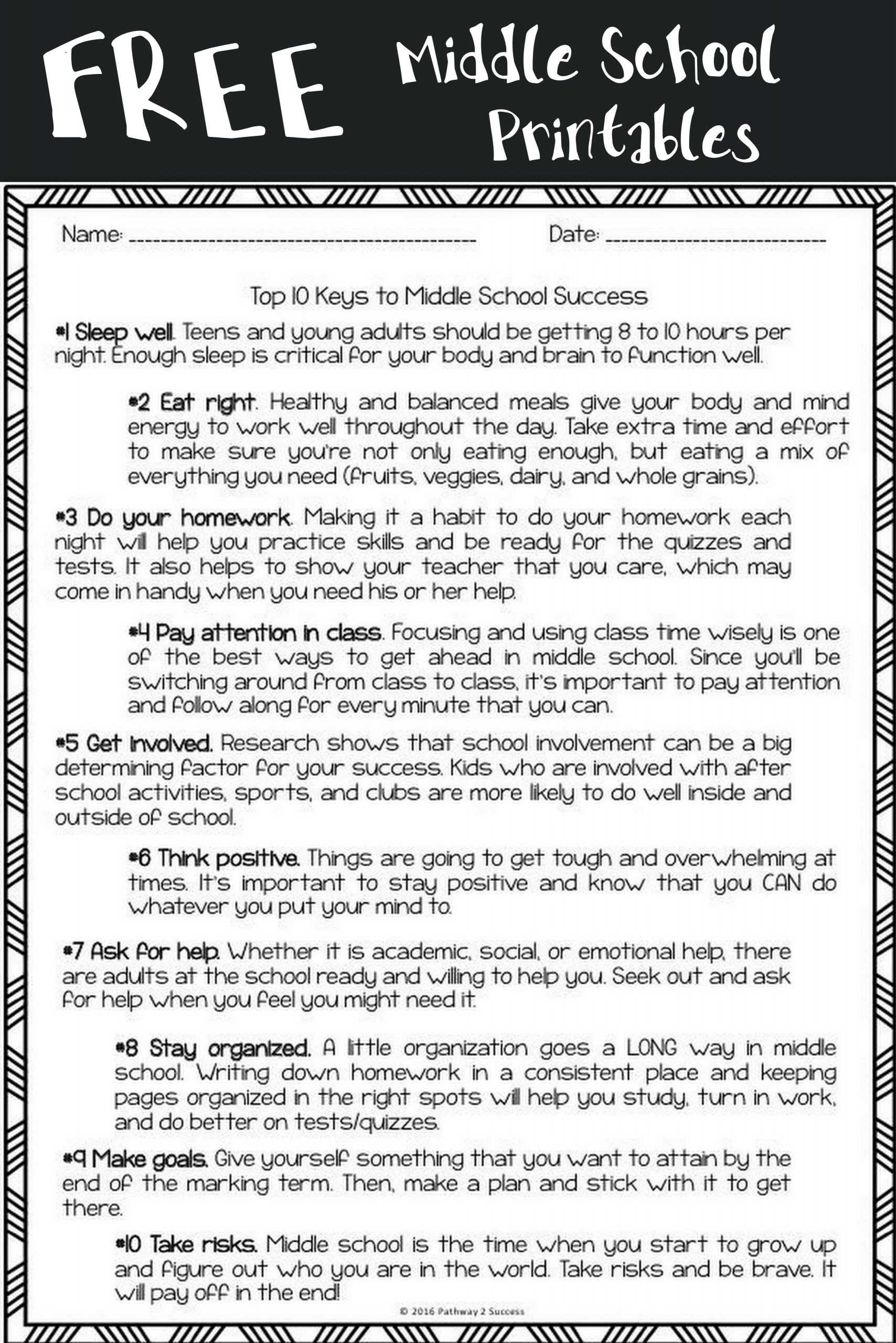 Advisory Worksheets for Middle School Middle School Keys to Success
