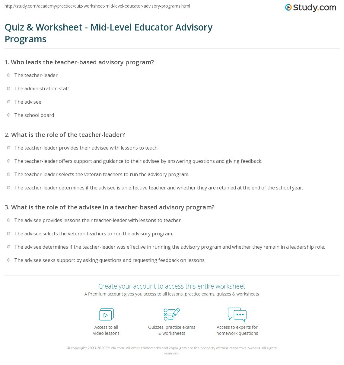 Advisory Worksheets for Middle School Quiz & Worksheet Mid Level Educator Advisory Programs