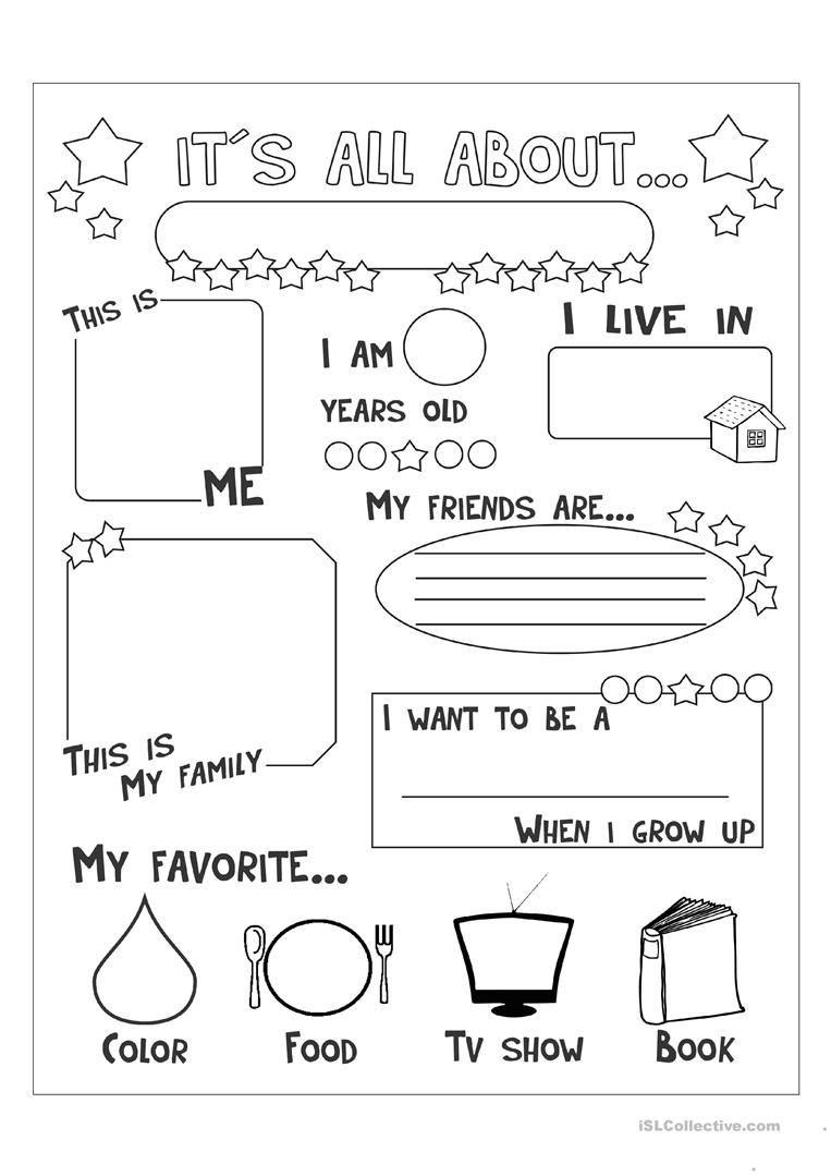 all about me English ESL Worksheets for distance learning