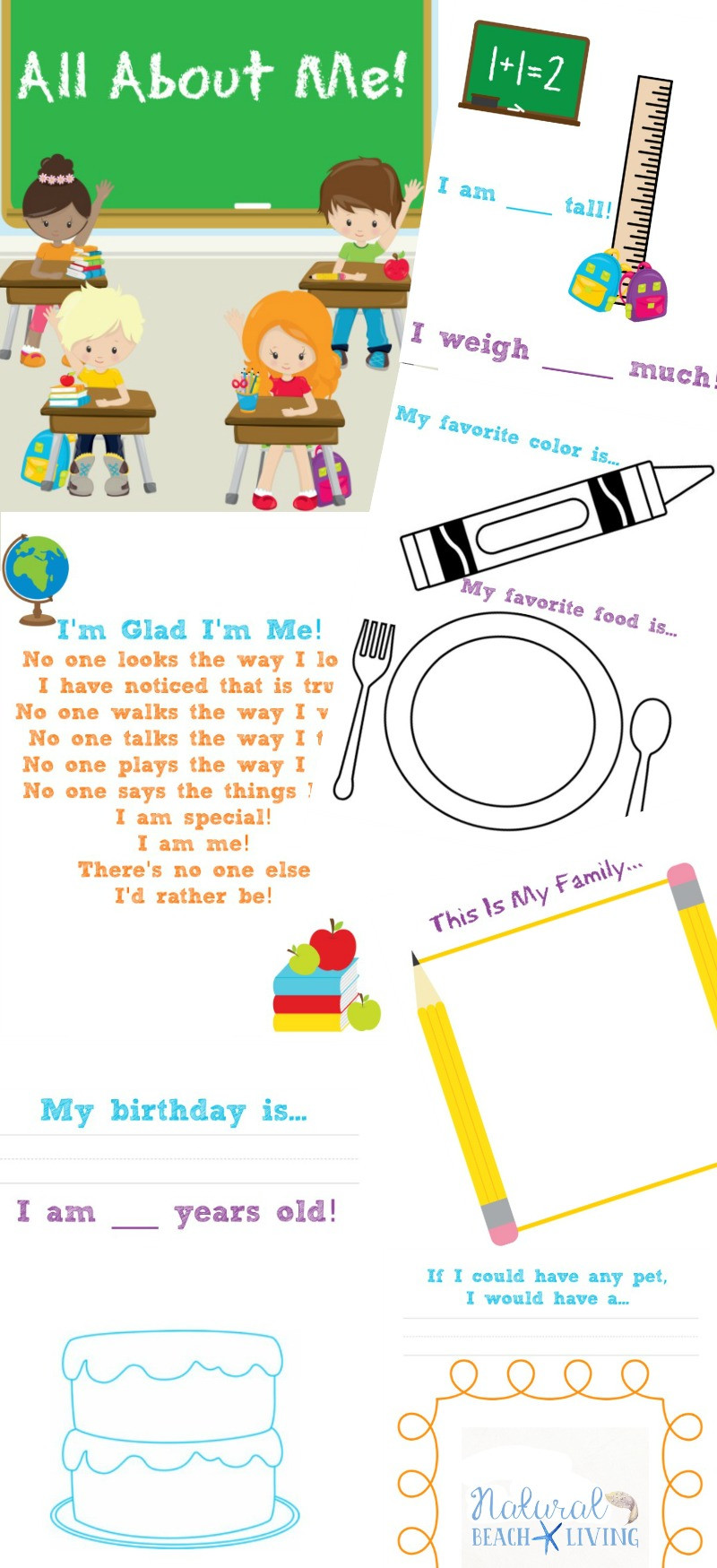 All About Me Worksheet Preschool the Best All About Me Preschool theme Printables Natural