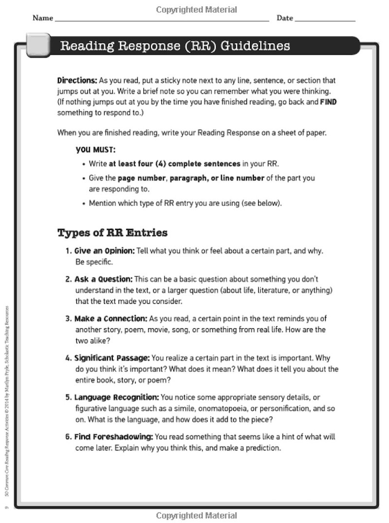 Annotation Worksheet Middle School 5 Reading Response Activities to Invite Higher Thinking