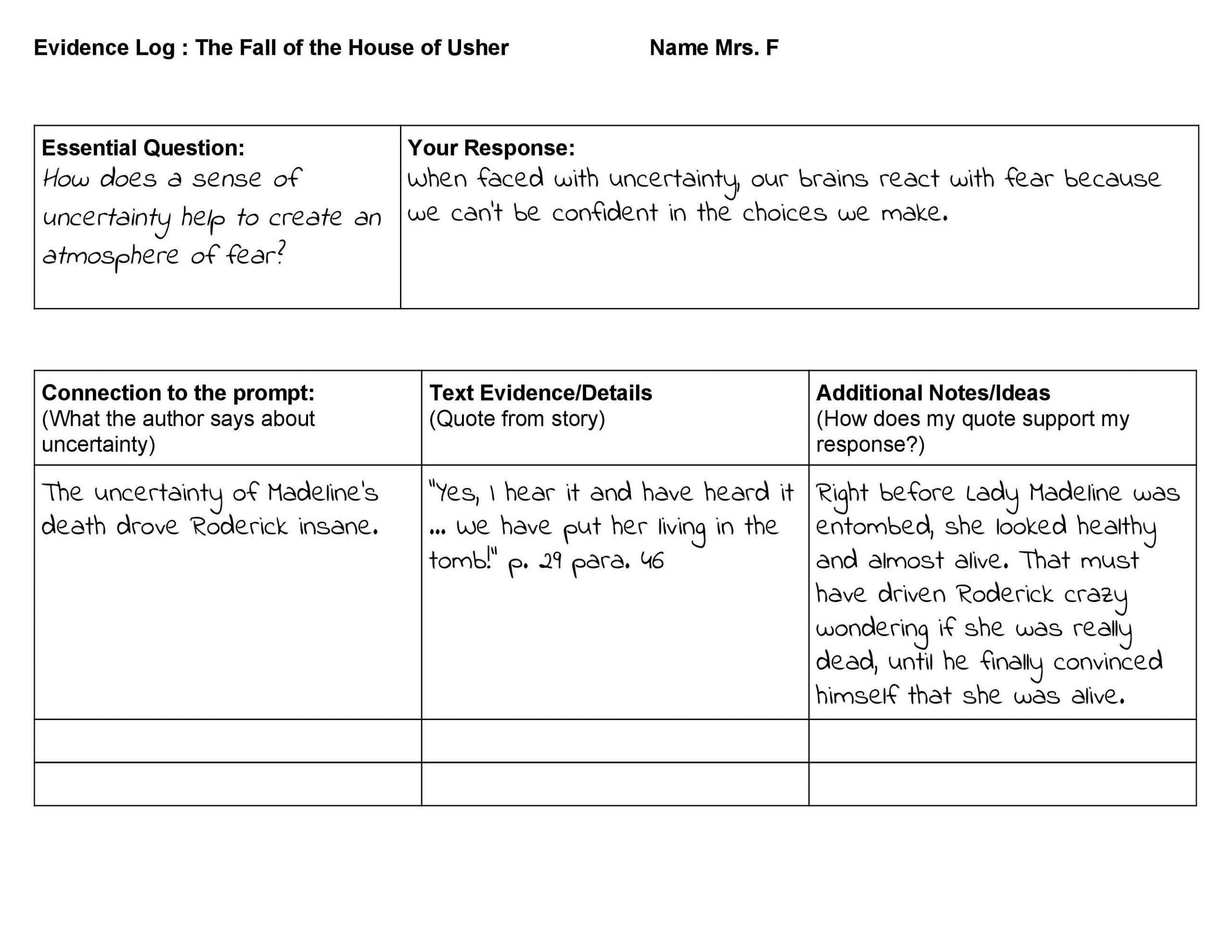 Annotation Worksheet Middle School Bs High School