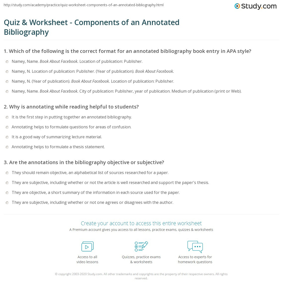 Annotation Worksheet Middle School Quiz & Worksheet Ponents Of An Annotated Bibliography