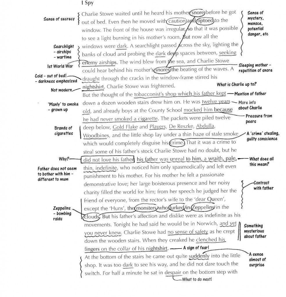 Annotation Worksheet Middle School Sample Annotated Text
