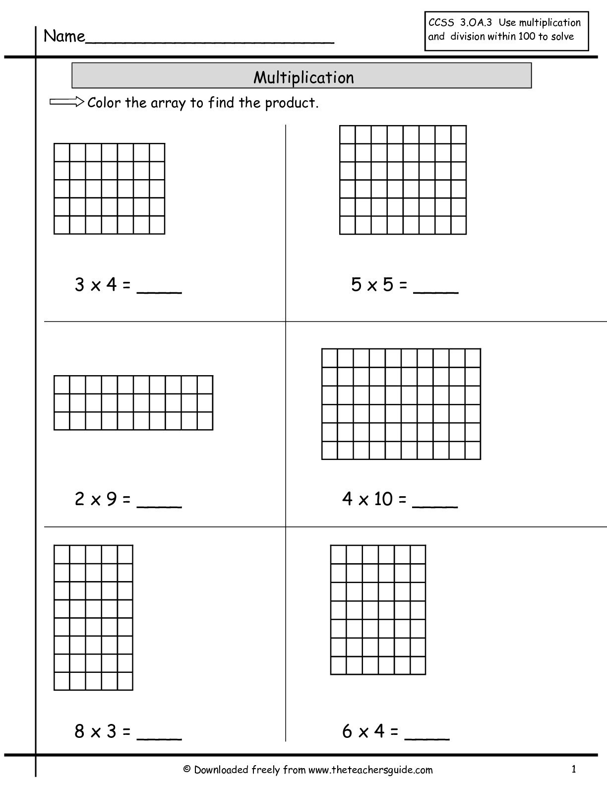 Array Worksheets 3rd Grade Array Worksheets to Educations Array Worksheets 2nd Grade