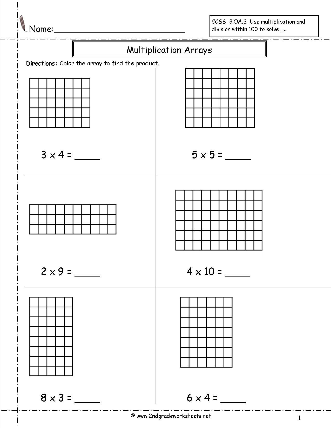Array Worksheets 3rd Grade Arrays Worksheets