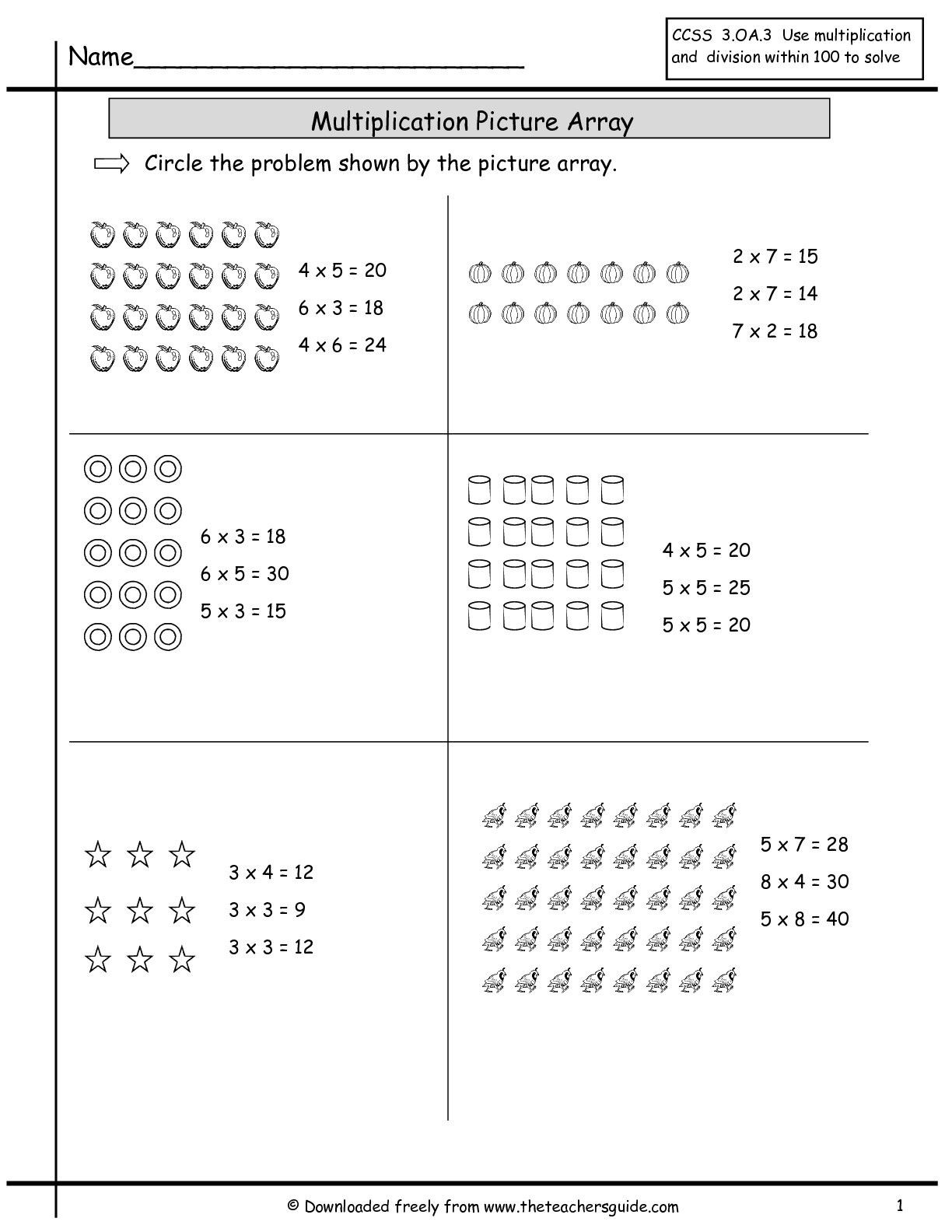 Array Worksheets 3rd Grade Multiplication Array Worksheets