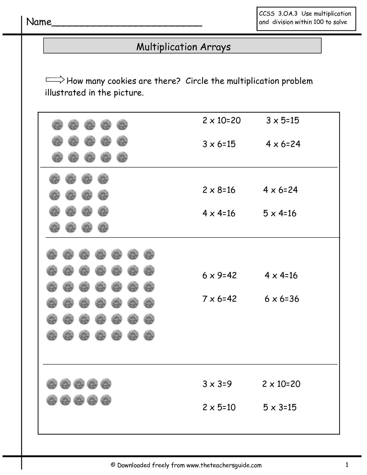 Array Worksheets 3rd Grade Multiplication Arrays Worksheets