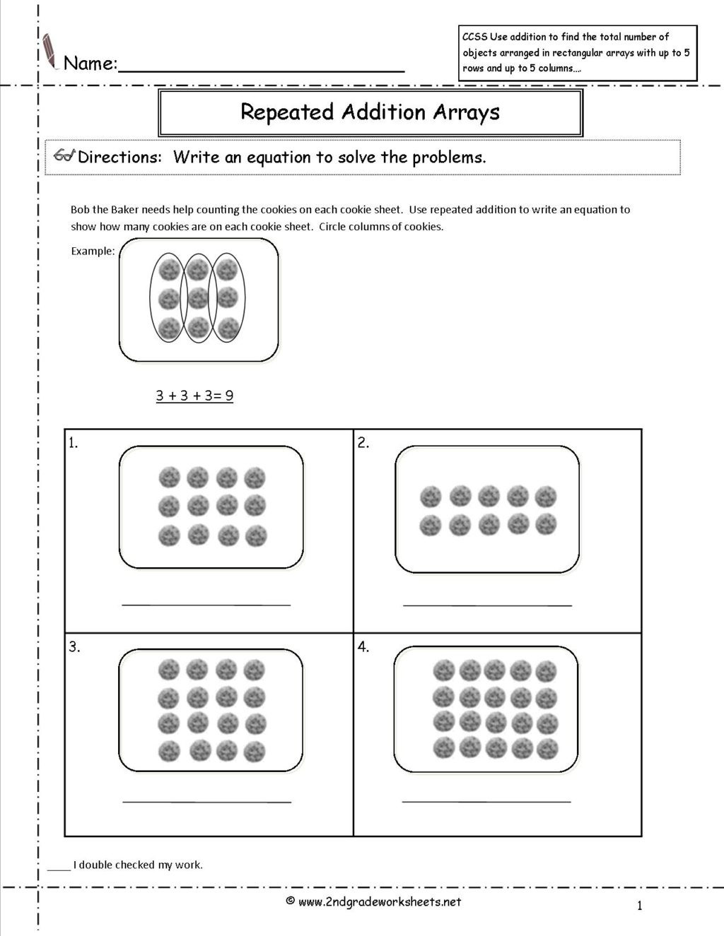 Array Worksheets 3rd Grade Worksheet Mon Core Math Worksheets 3rdrade