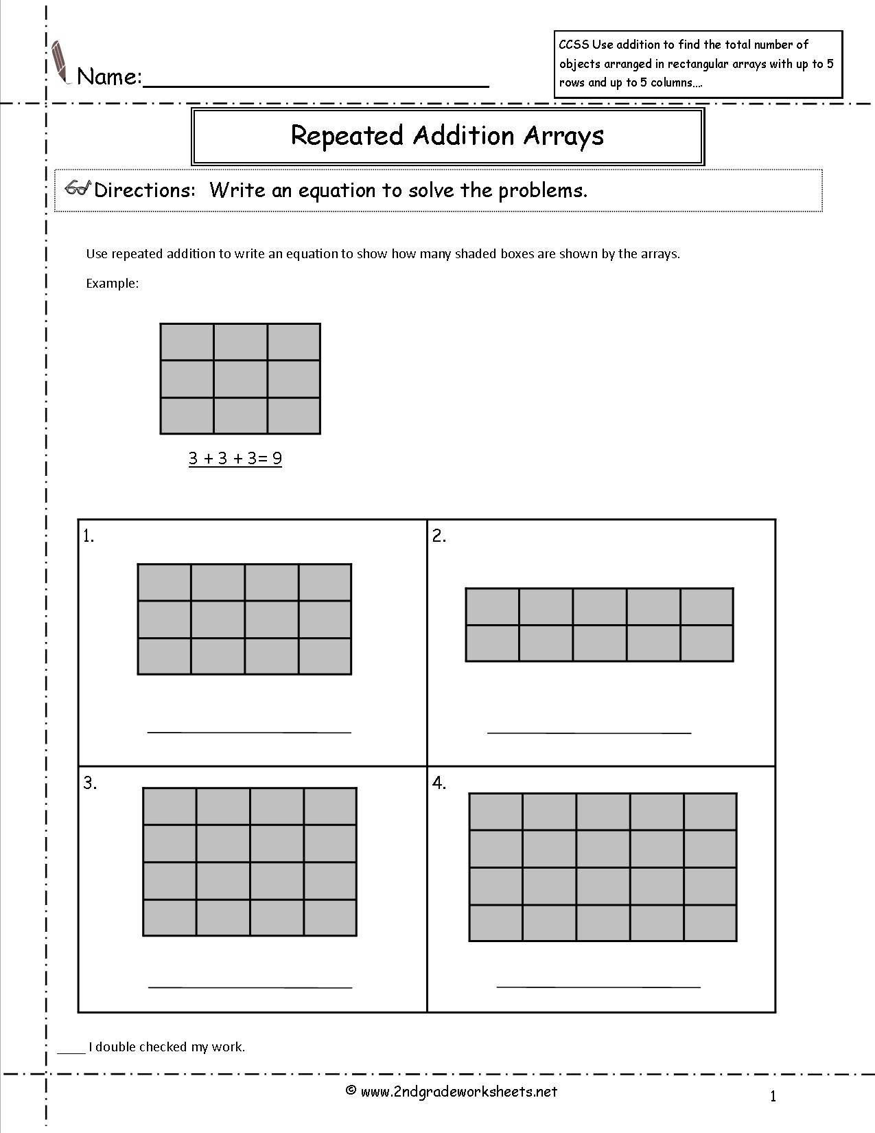 Array Worksheets for 2nd Graders Free Array Worksheets 2nd Grade Free Preschool