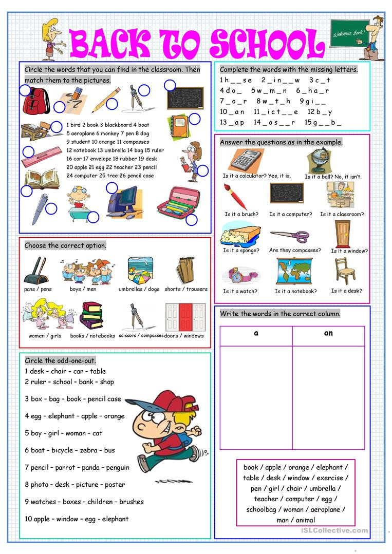 Back to School Worksheets Back to School English Esl Worksheets for Distance