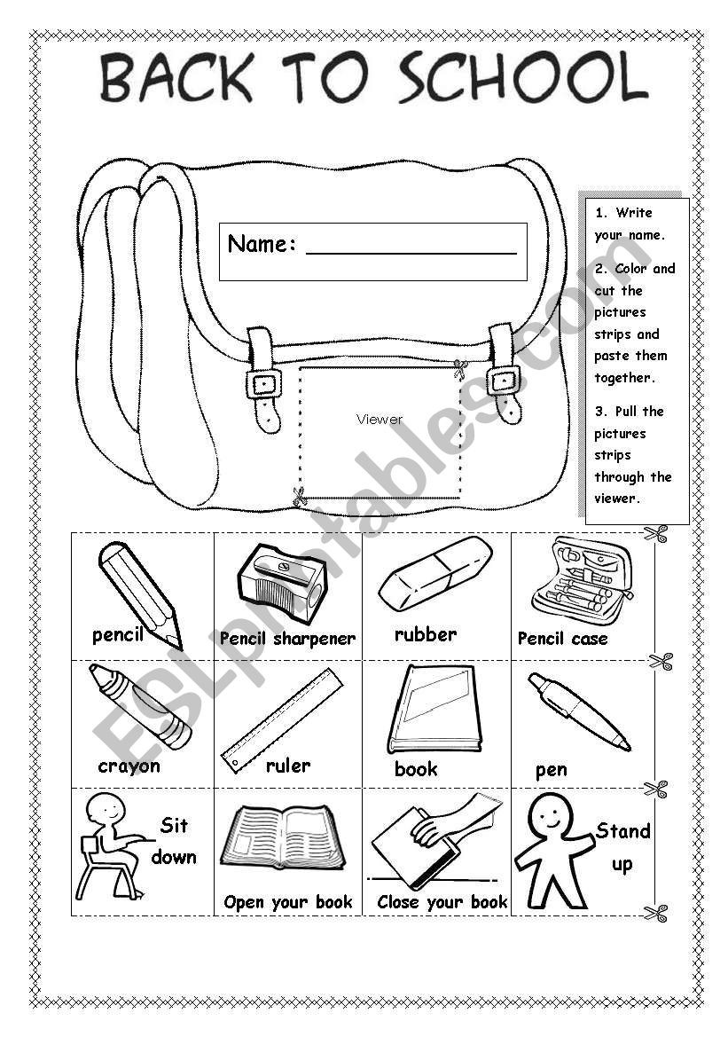 Back to School Worksheets Back to School Esl Worksheet by Sue