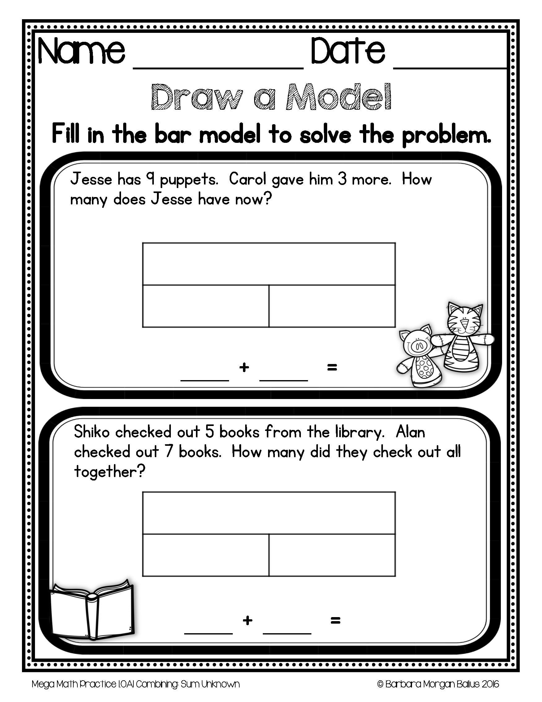 Bar Model Worksheets 2nd Grade Pin by Barbara Balius M Ed Curriculu On Teaching Resources