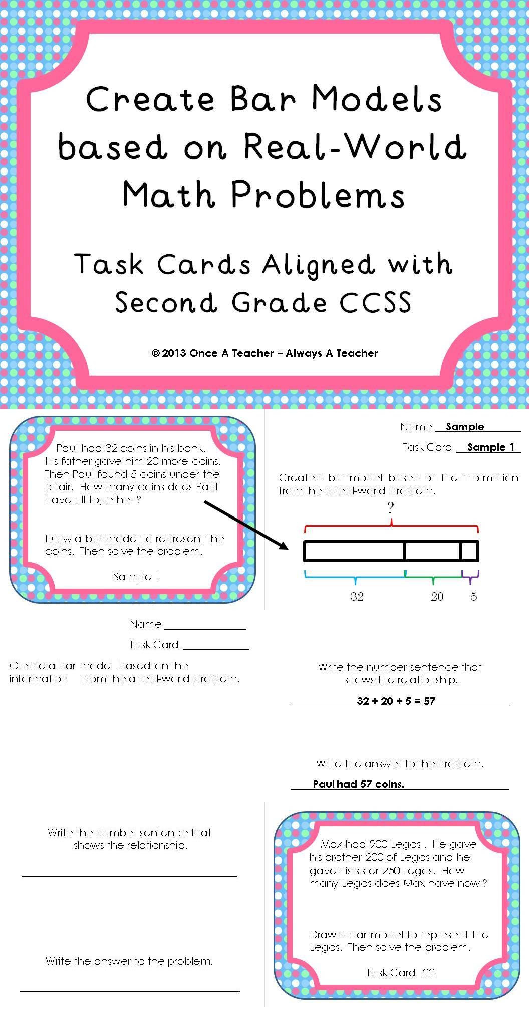 Bar Models Worksheets 2nd Grade Task Cards • Create Bar Models Based On Real World Math
