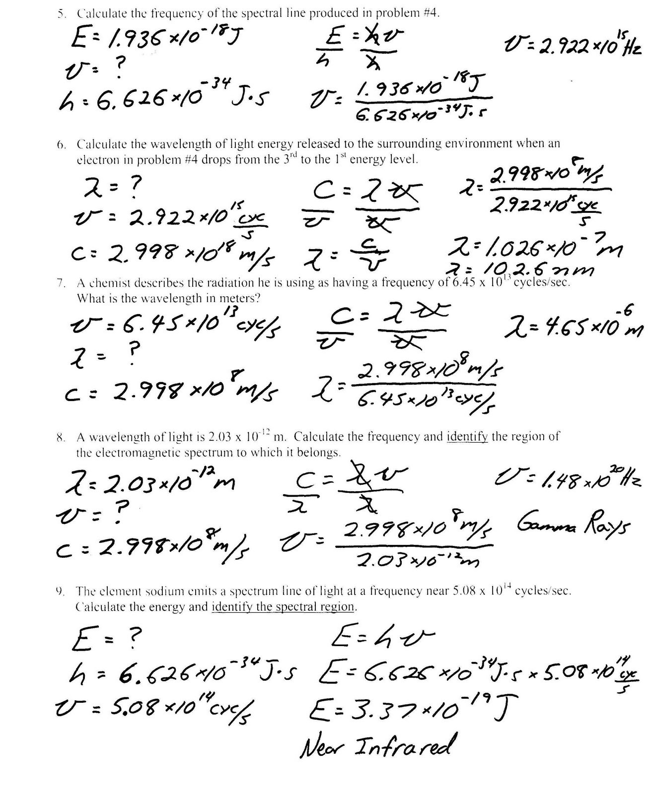 Bohr Model Worksheet High School Bohr atomic Models Questions Worksheet Answers