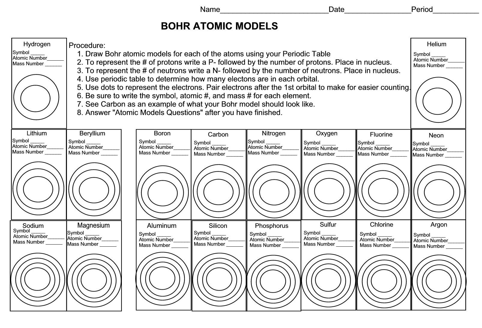Bohr Model Worksheet Middle School atomic Structure Review Worksheet Fill In the Blank