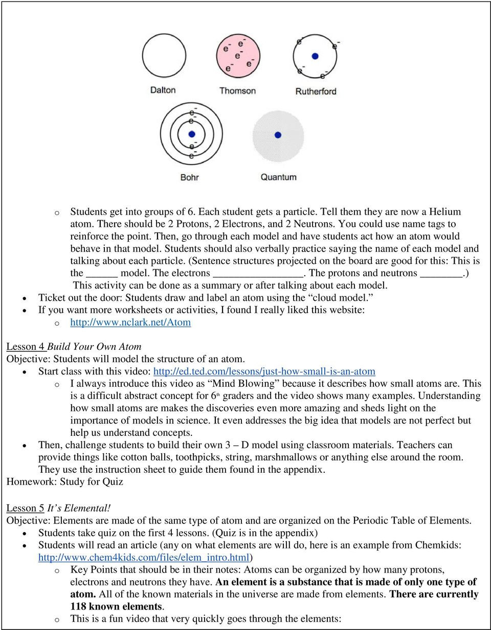 Bohr Model Worksheet Middle School atoms and Elements [6th Grade] Pdf Free Download