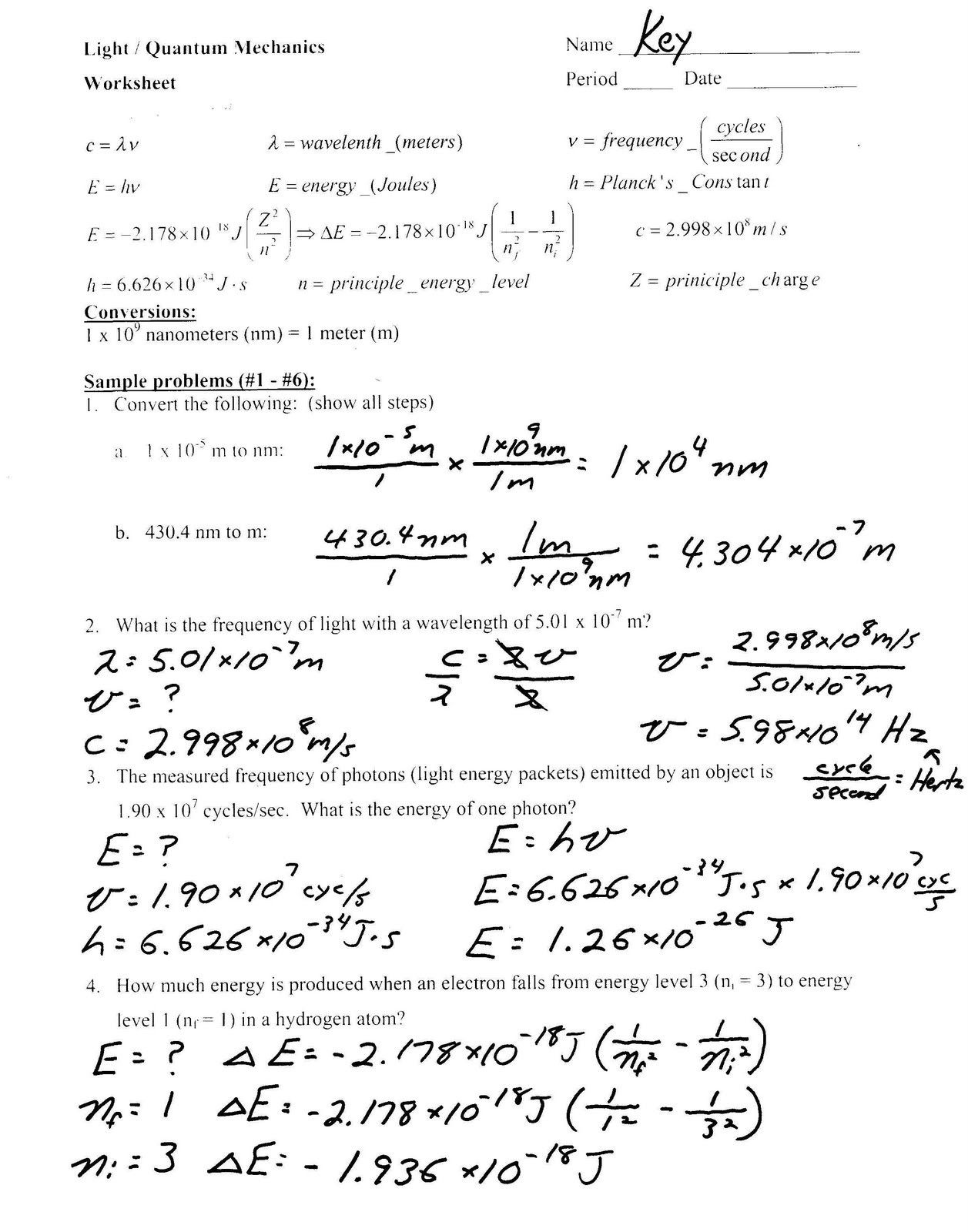 Bohr Model Worksheet Middle School Light Problems Worksheet