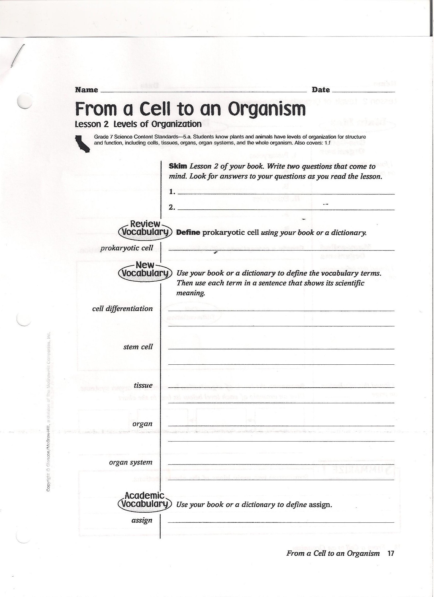 Cell theory Worksheet 7th Grade Unique is Life Science Worksheet Educational 7th Grade Cell