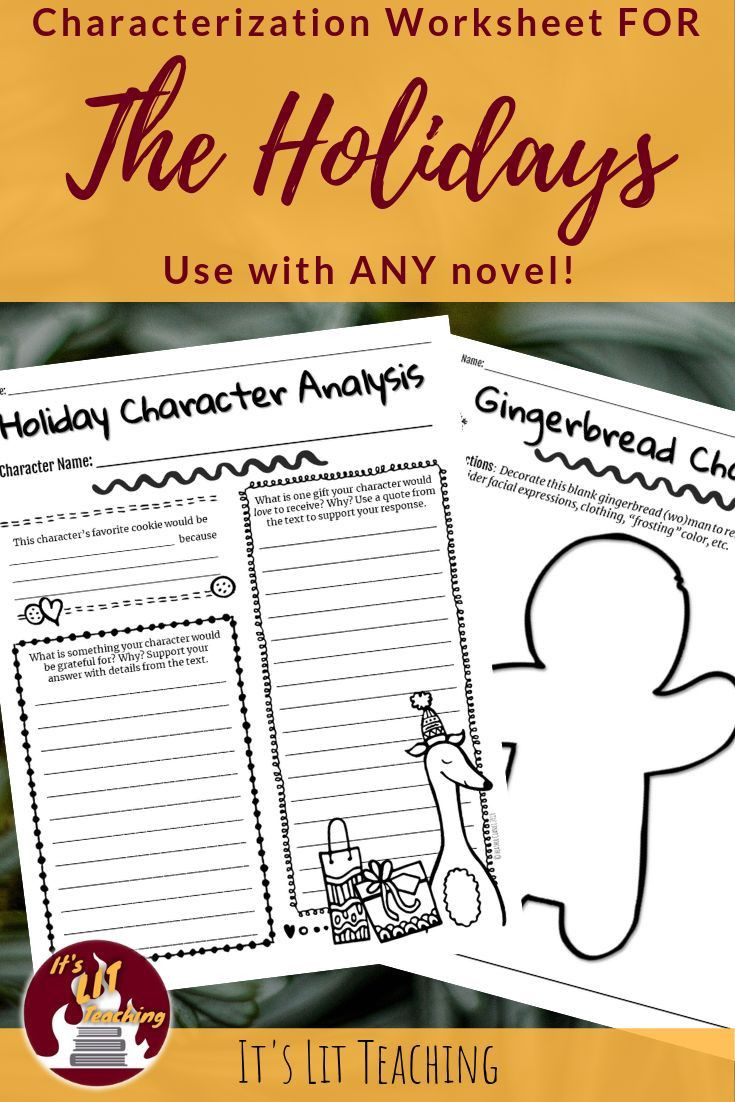 Character Analysis Worksheet High School Holiday Character Analysis Worksheet for Any Novel with