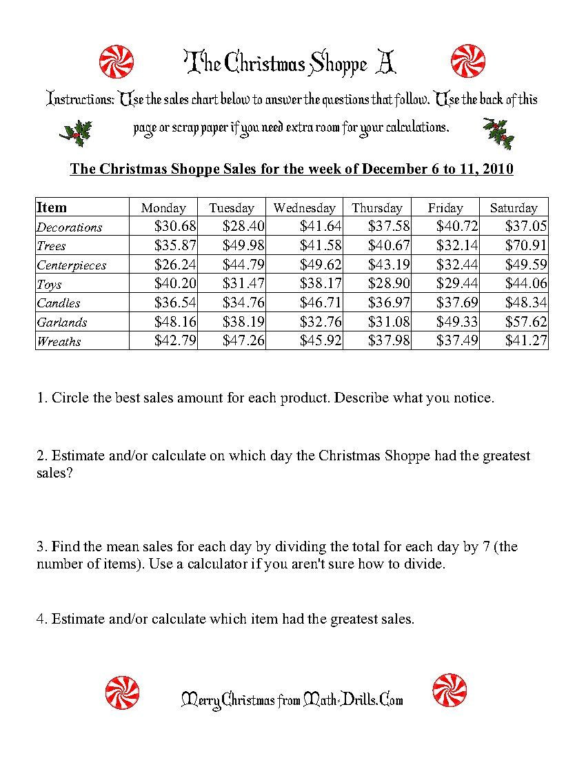 Christmas Math Worksheets 5th Grade the Christmas Shoppe Worksheets that Require Adding and