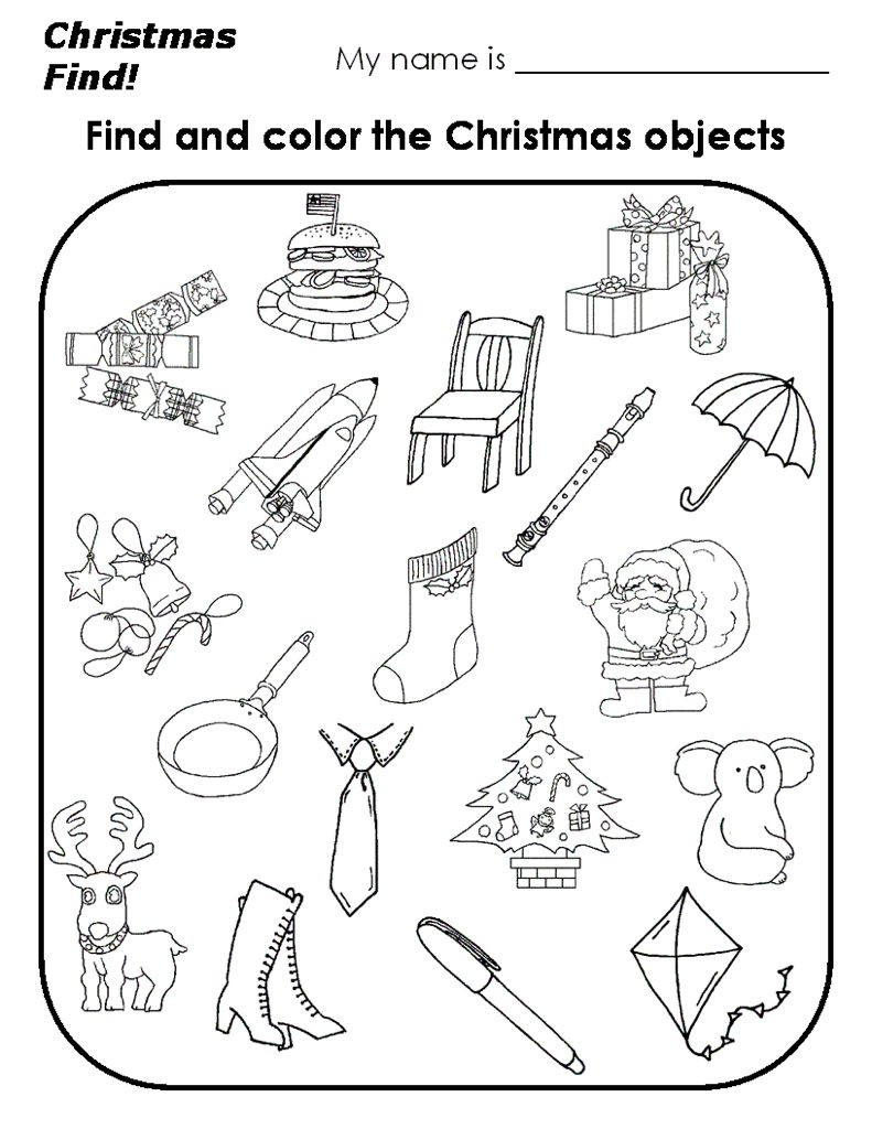 Christmas Worksheets for Preschoolers Christmas Find and Color