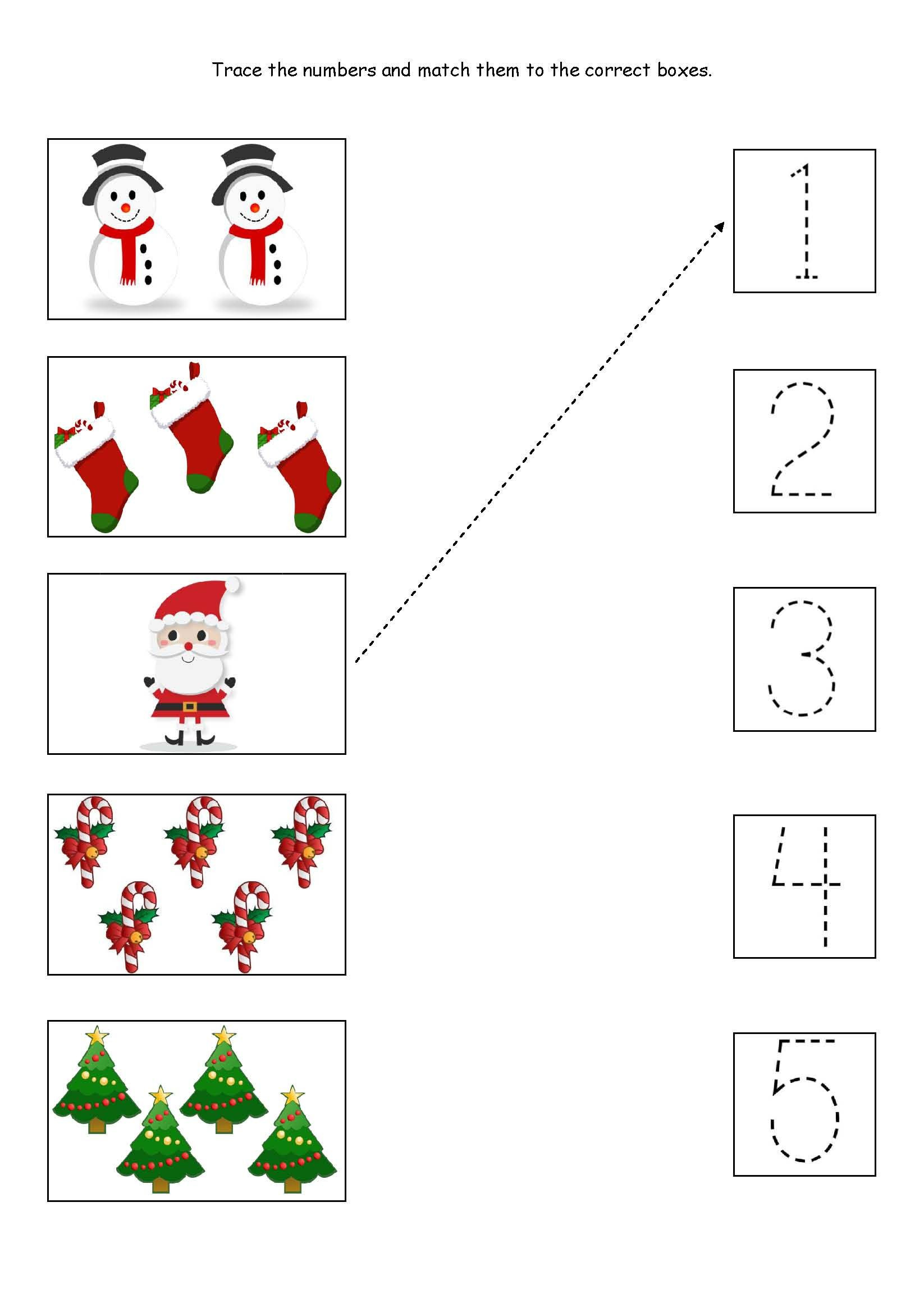 Christmas Worksheets for Preschoolers Cute Little Christmas Counting Matching and Tracing