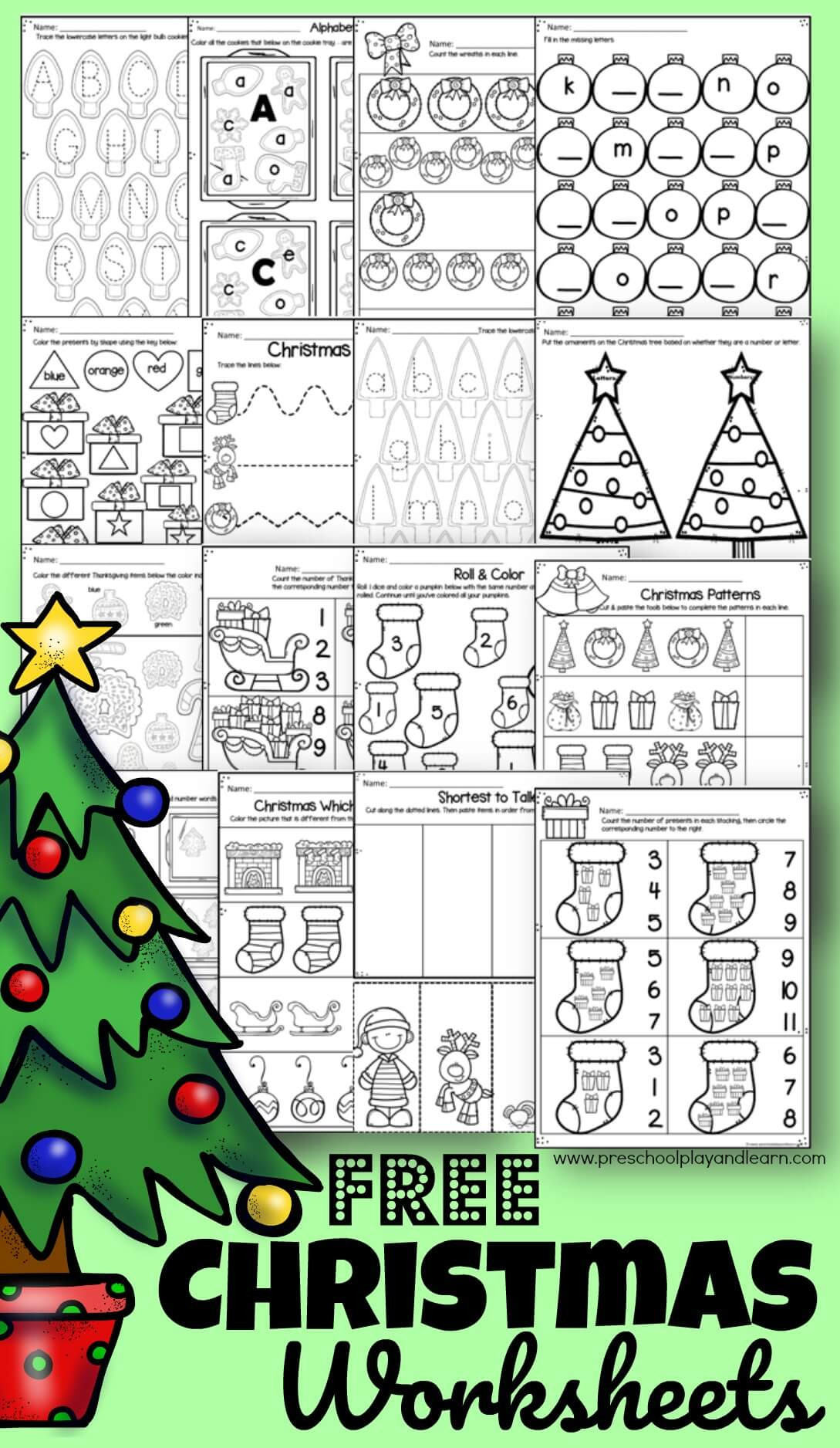 Christmas Worksheets for Preschoolers Free Christmas Worksheets for Preschoolers