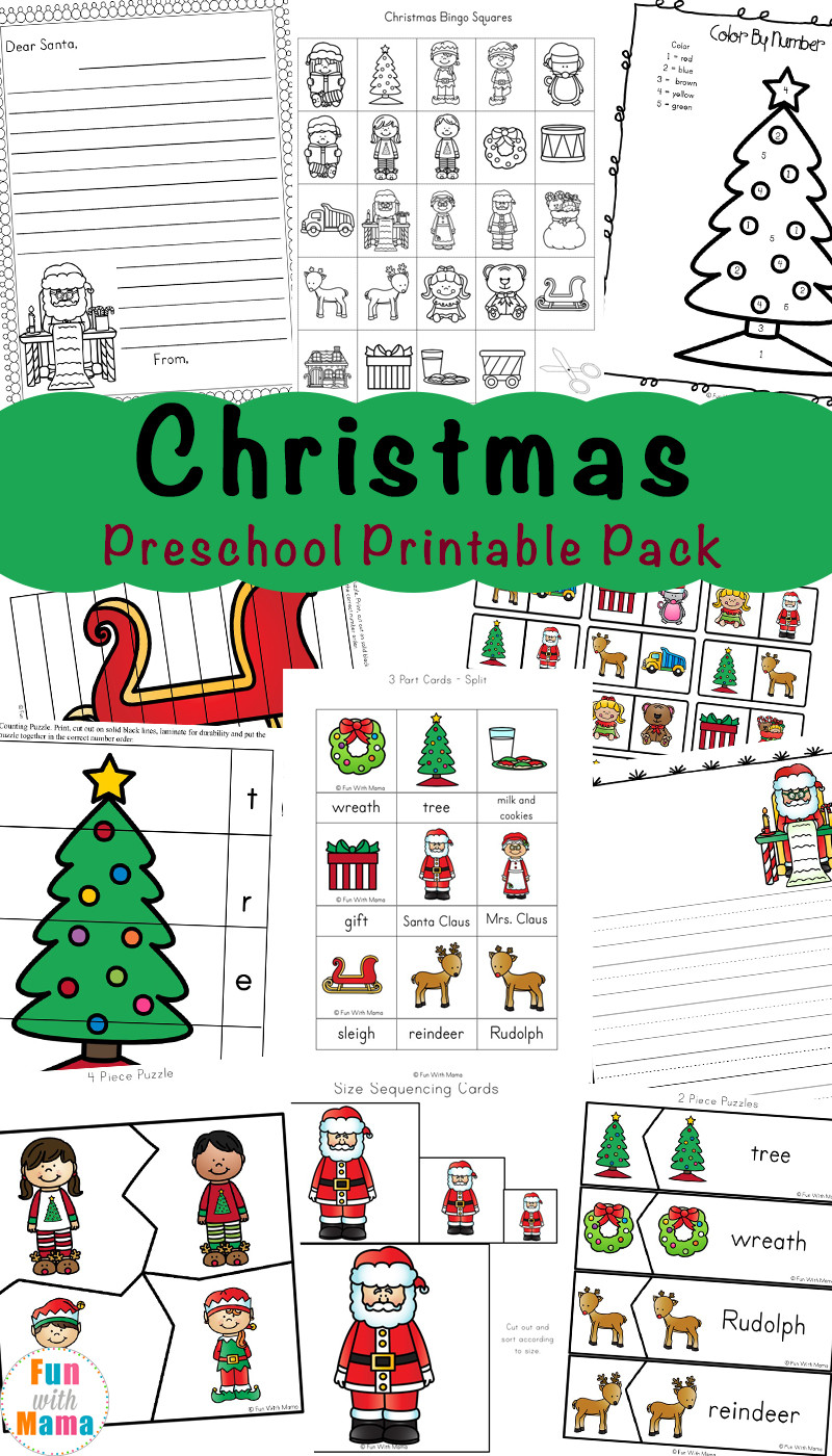Christmas Worksheets for Preschoolers Free Printable Christmas Worksheets Fun with Mama
