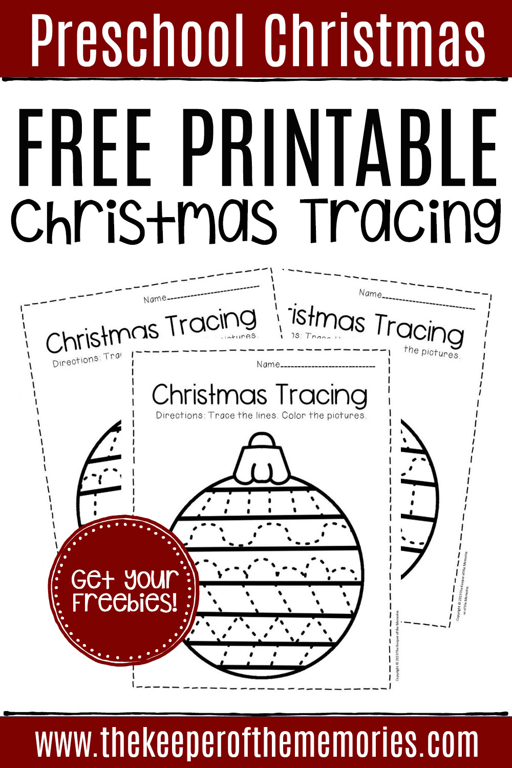 Christmas Worksheets for Preschoolers Free Printable Tracing Christmas Preschool Worksheets