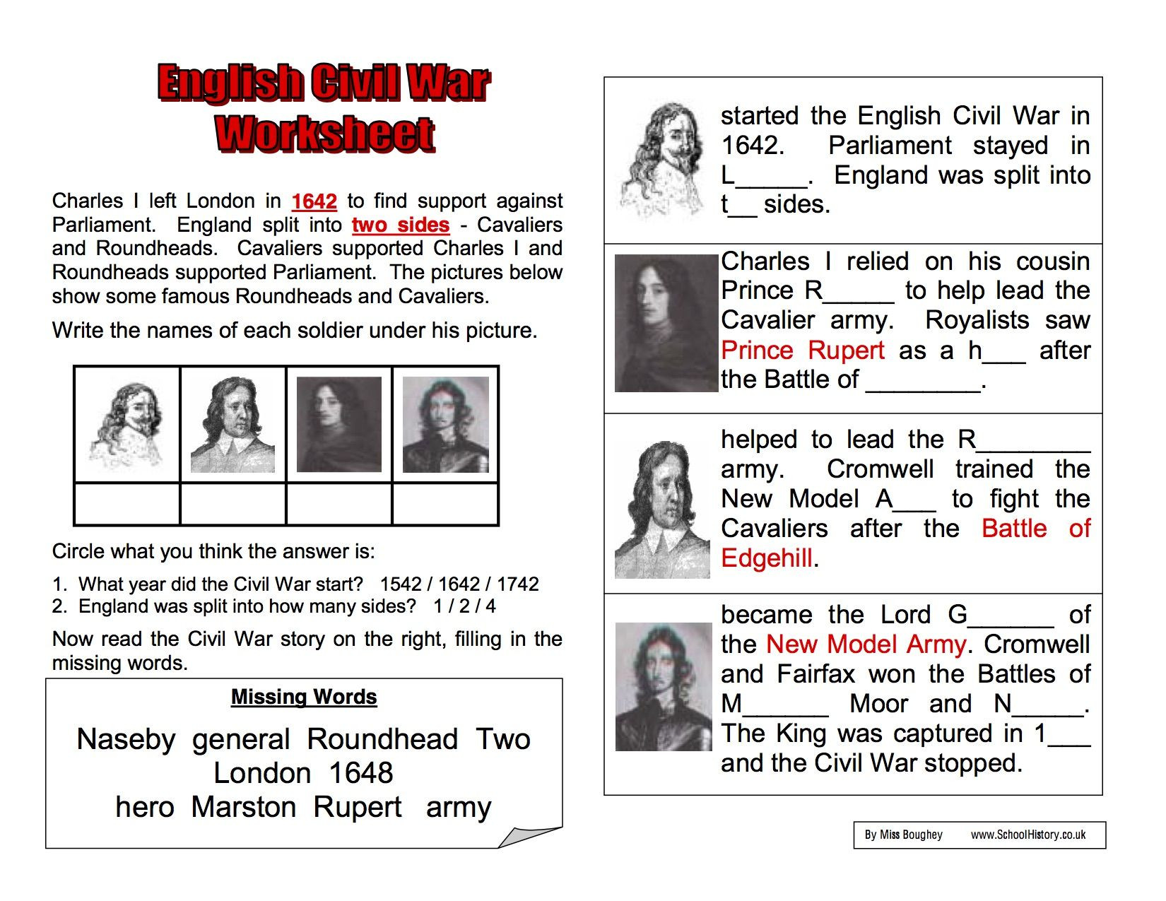 Civil War Worksheets 5th Grade English Civil War Background Worksheet