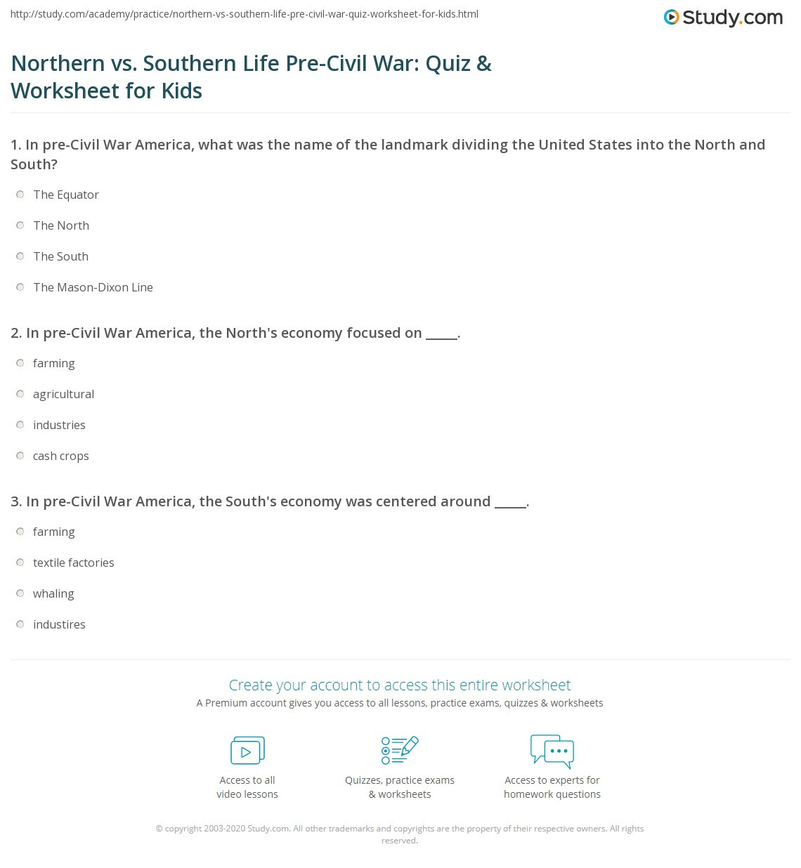 Civil War Worksheets 5th Grade northern Vs southern Life Pre Civil War Quiz & Worksheet