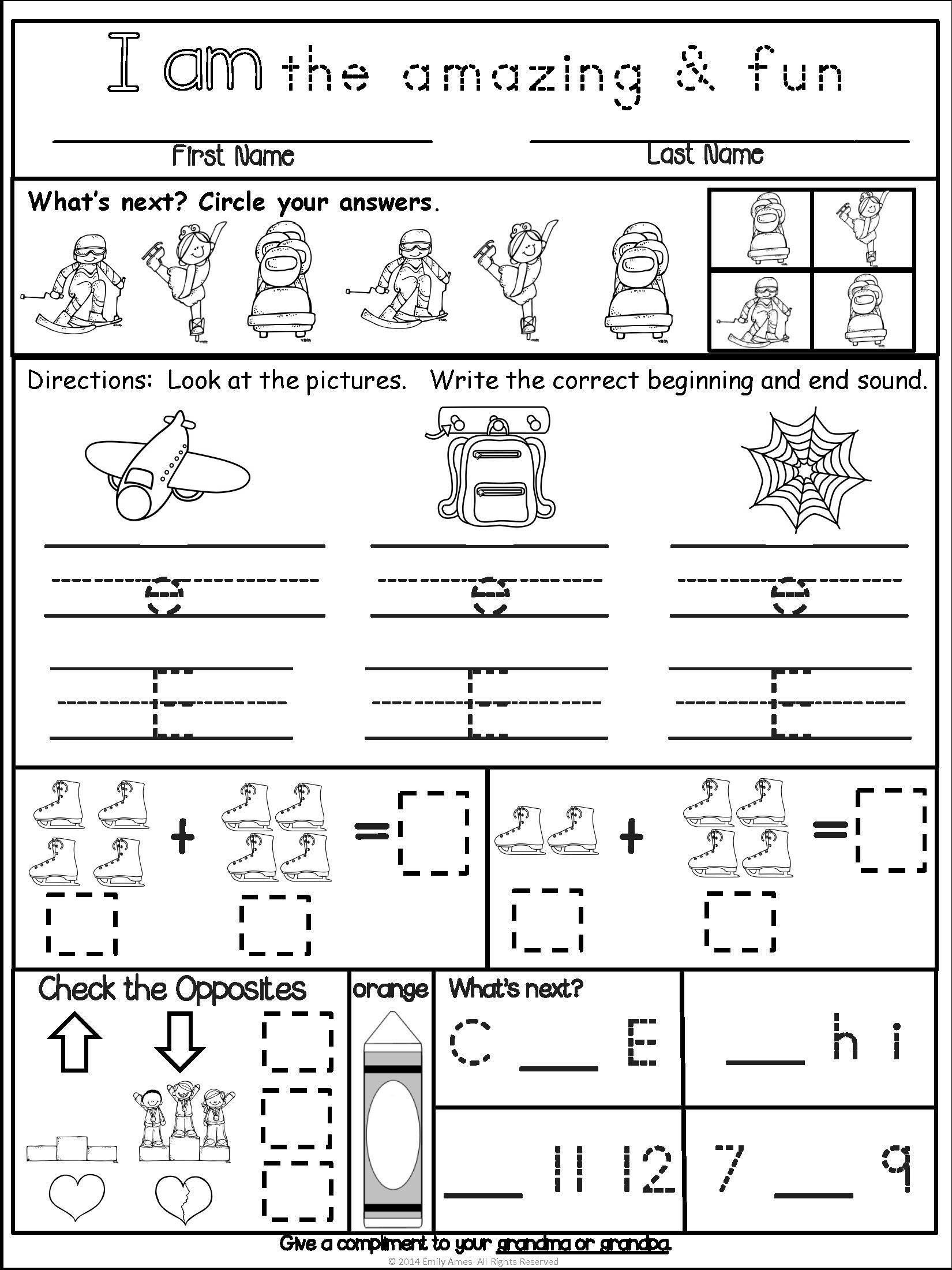 Common Core Kindergarten Math Worksheets Homework Kindergarten February Packet Differentiated