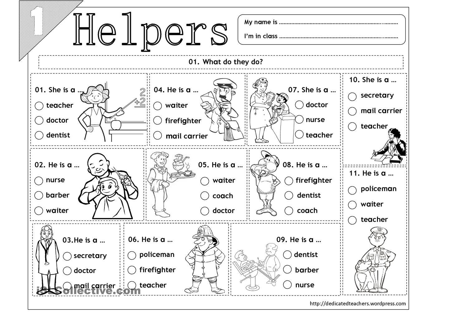 Community Helpers Worksheet for Preschool Helpers 01