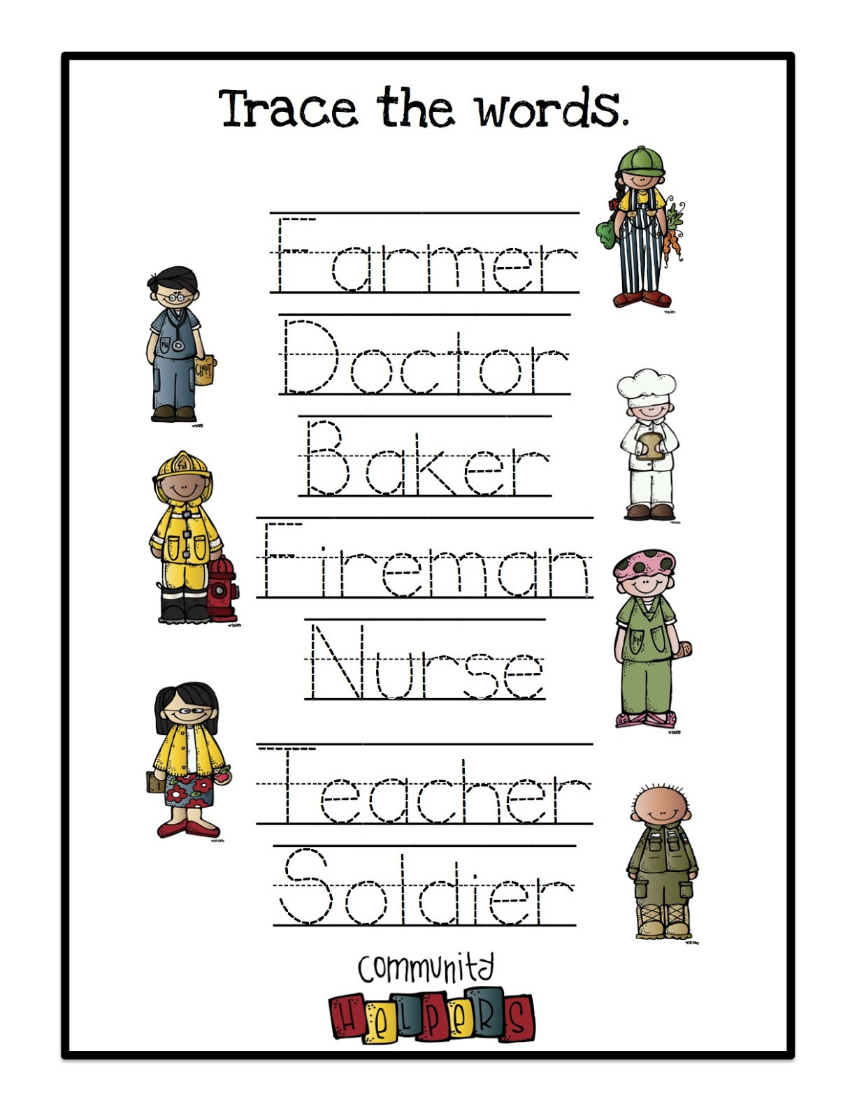 Community Helpers Worksheet for Preschool Munity Helpers Worksheet
