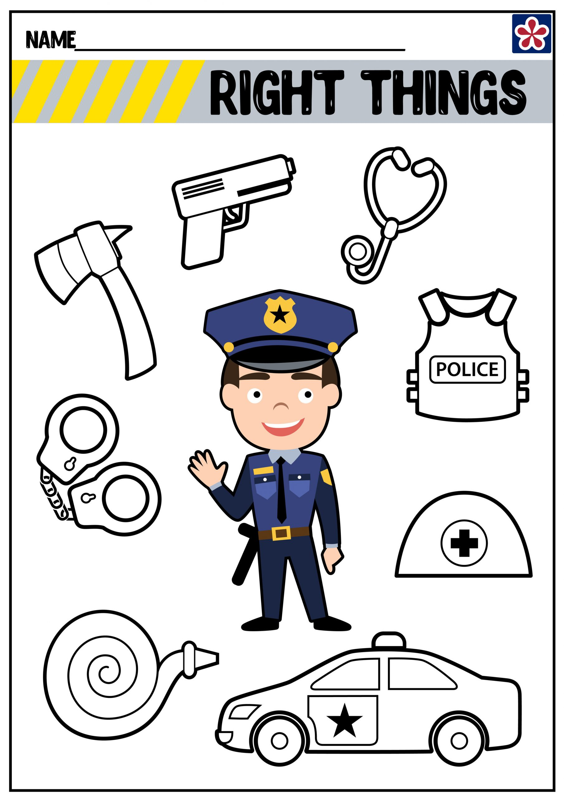 Community Helpers Worksheet for Preschool Munity Helpers Worksheets Police Ficer