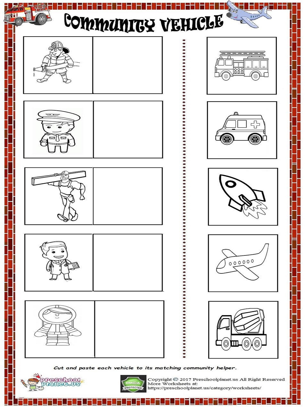 Community Helpers Worksheet for Preschool Munity Vehicle Worksheet – Preschoolplanet