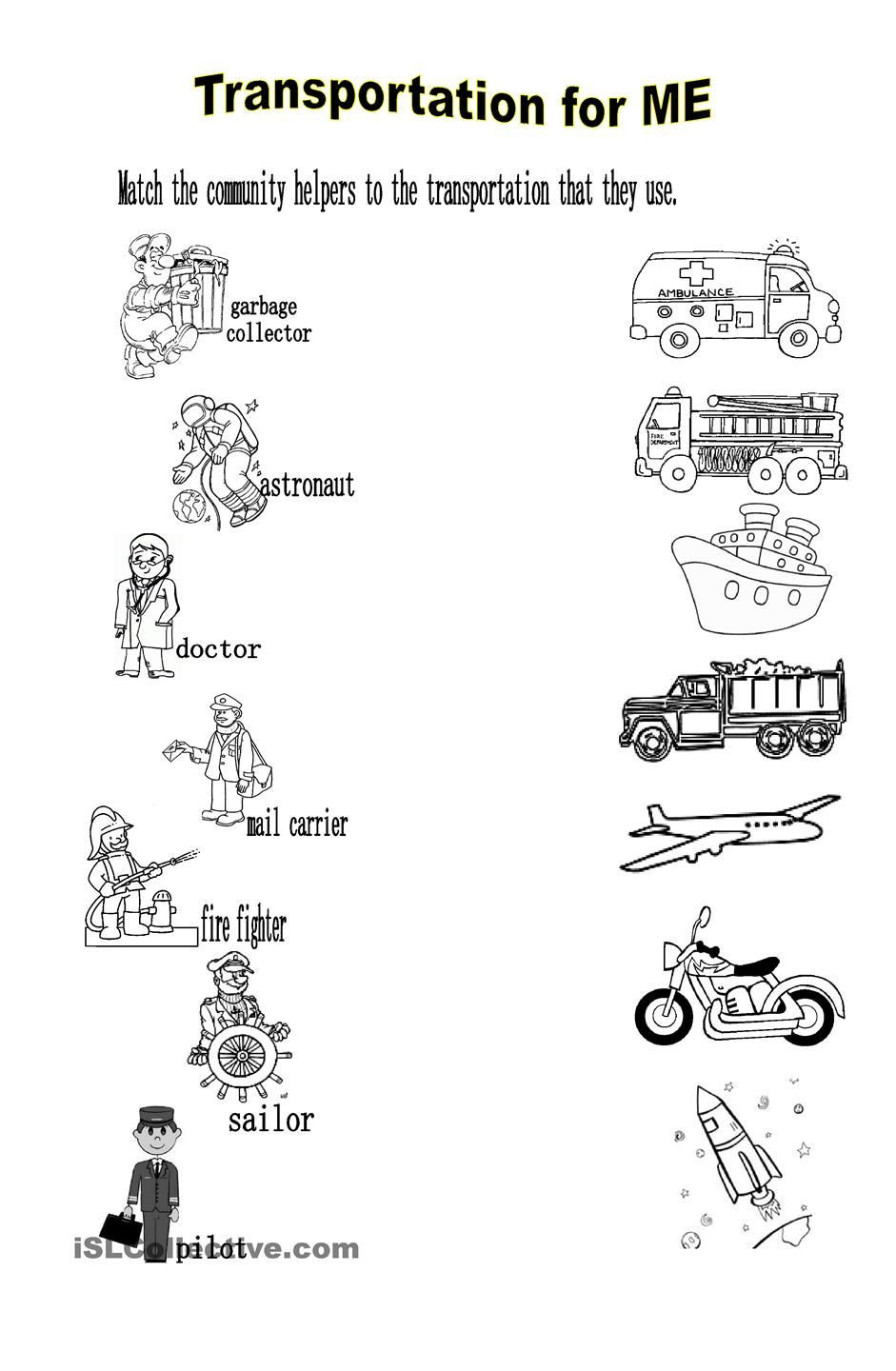 Community Helpers Worksheet for Preschool Transportation for Me
