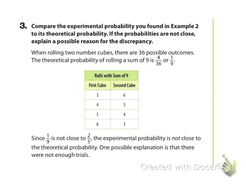 Compound Probability Worksheets 7th Grade Experimental and theoretical Probability Worksheet