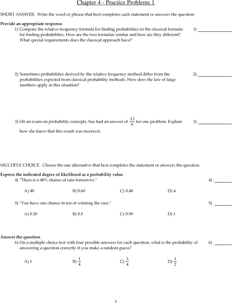 Compound Probability Worksheets 7th Grade Probability Practice Problems – Leahaliub