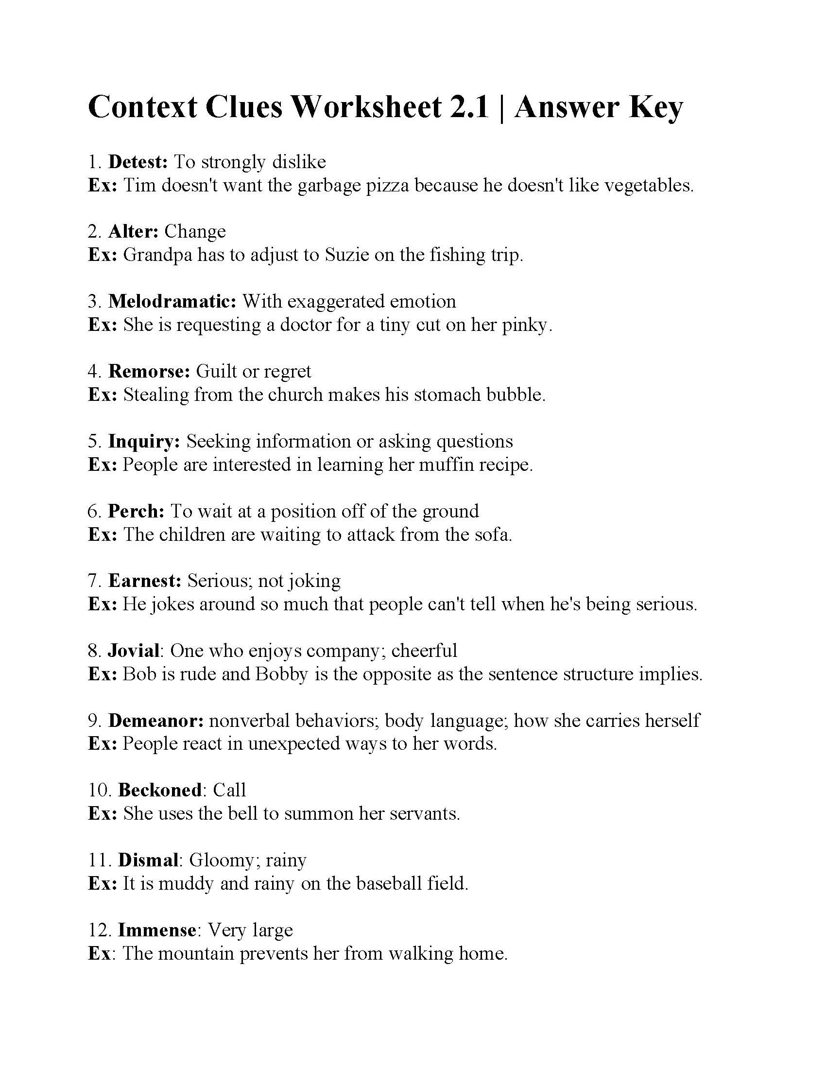 Context Clues Worksheets 3rd Grade Context Clues Worksheets Grade 5