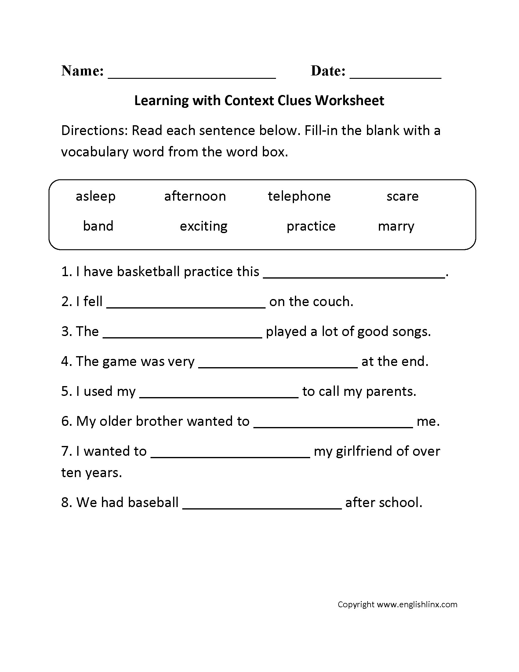 Context Clues Worksheets 3rd Grade Ereading Worksheet Context Clues