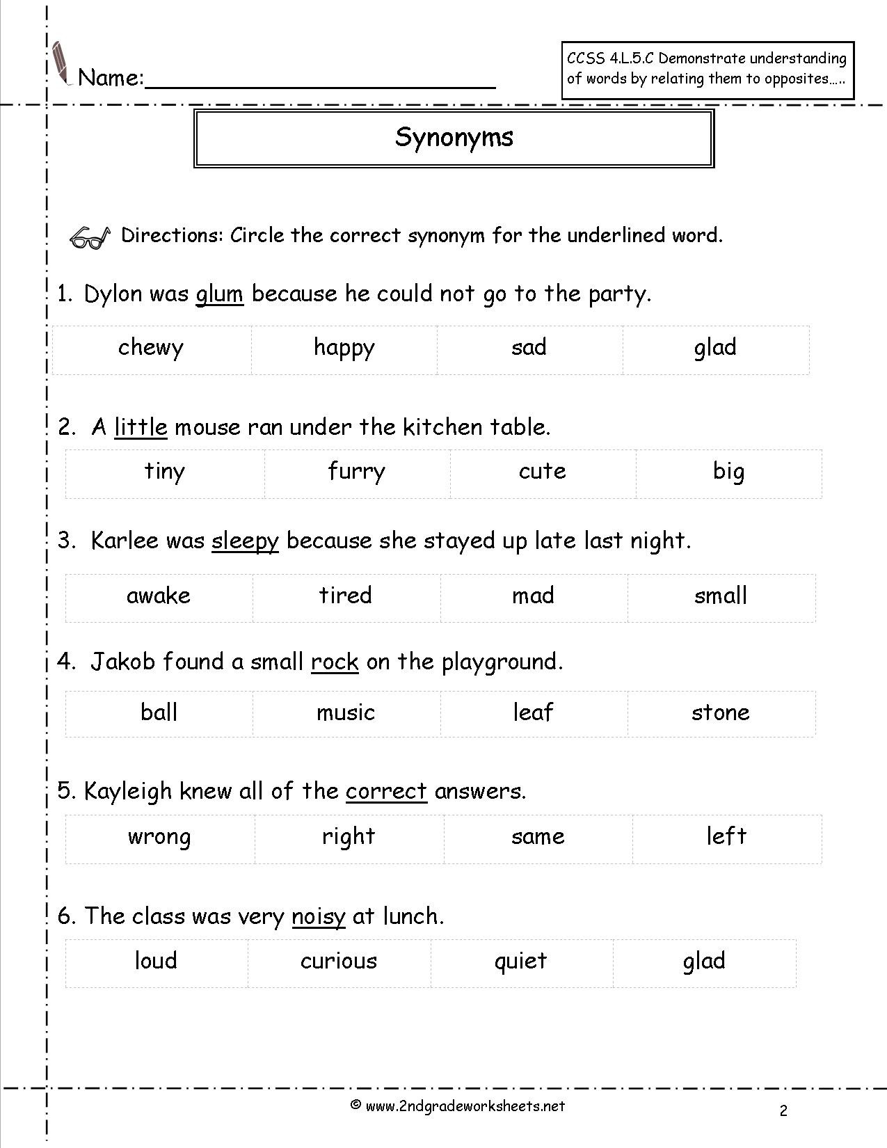Context Clues Worksheets 3rd Grade Synonyms and Antonyms Worksheets Antonym for Third Grade