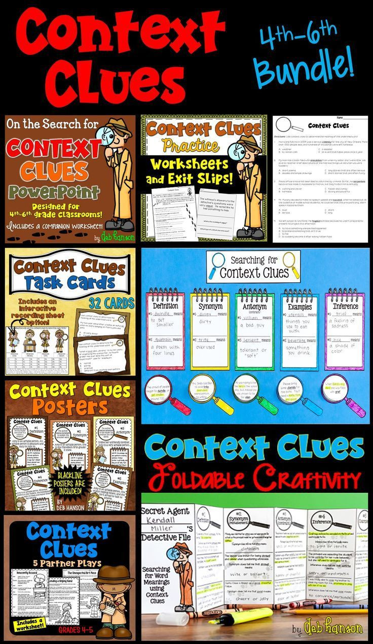 Context Clues Worksheets 6th Grade Context Clues Bundle Of Activities 4th 5th and 6th Grade