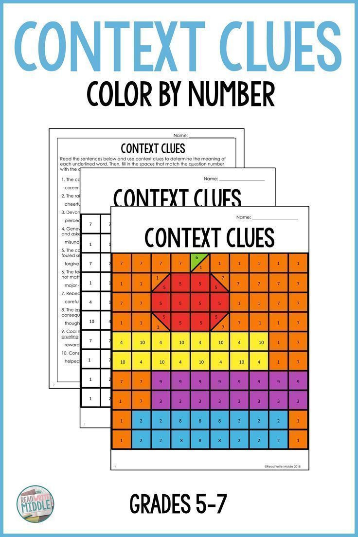 Context Clues Worksheets 6th Grade Context Clues Color by Number