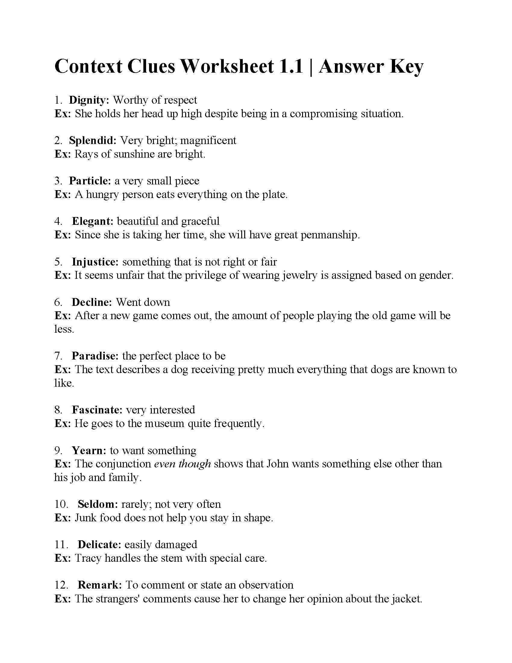 Context Clues Worksheets 6th Grade Teacher Worksheets Context Clues