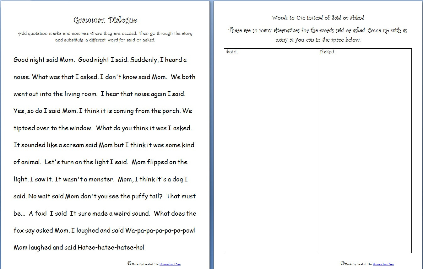 Dialogue Worksheets Middle School Free Grammar Practice Sheet Quotation Marks Said asked