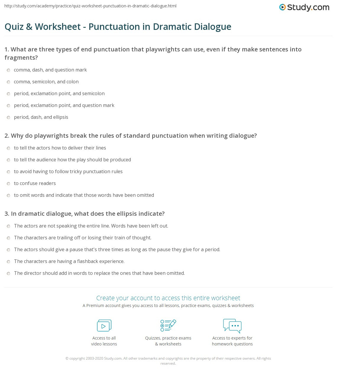 Dialogue Worksheets Middle School Quiz & Worksheet Punctuation In Dramatic Dialogue
