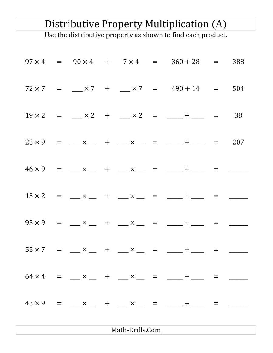 Distributive Property 4th Grade Worksheets Multiply 2 Digit by 1 Digit Numbers Using the Distributive